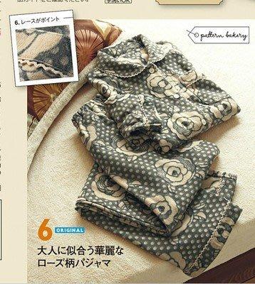 日本內刷毛睡衣 家居服刷毛花朵圖案睡衣 家居服 日本睡衣 保暖衣 保暖褲 一整套的刷毛睡衣 均碼