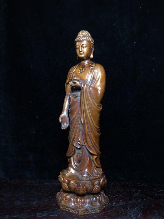 【弘慧堂】 古玩古董木雕雜項黃楊木手工蓮花釋迦摩尼裝飾擺件收藏品