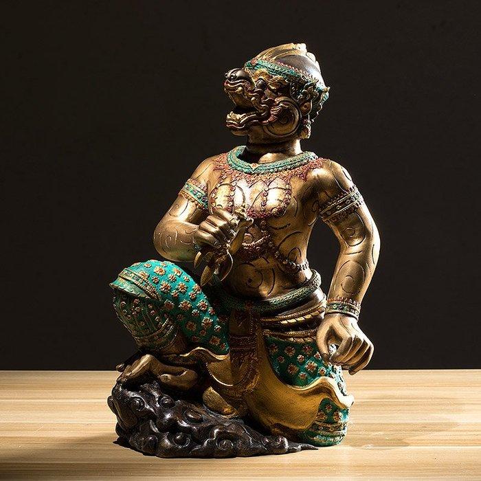 裝飾擺件 裝飾品 異麗純銅神獸裝飾擺件東南亞特色哈奴曼神獸酒店餐廳客廳軟裝飾品