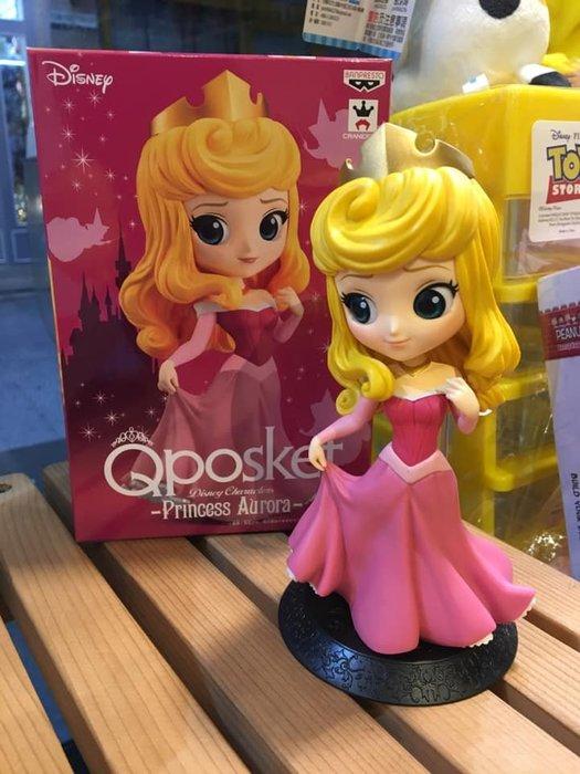 阿虎會社【A - 165】代理 正版 景品 迪士尼 Qposket 睡美人 奧羅拉 公主 14cm 公仔 粉色 模型