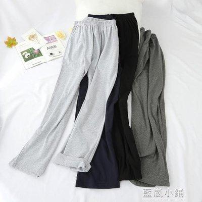 日系夏季睡褲男100%純棉寬鬆大碼休閒運動家居褲女全棉居家褲長褲
