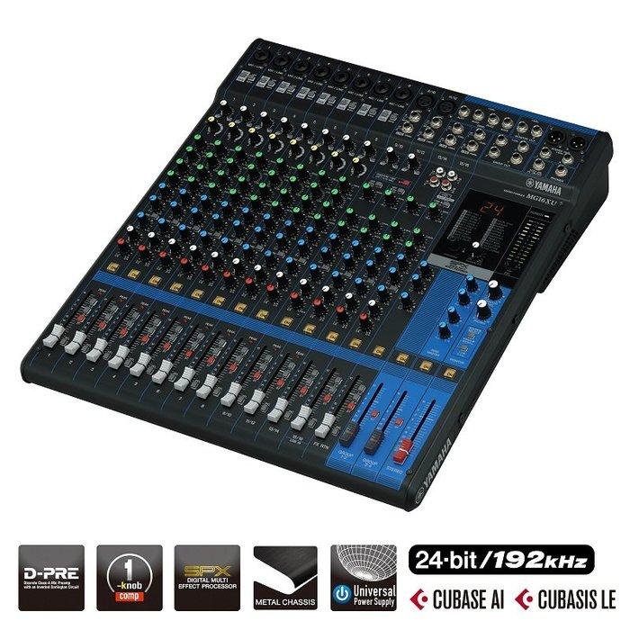 造韻樂器音響- JU-MUSIC - 全新 YAMAHA MG16XU 16軌 混音器 USB介面