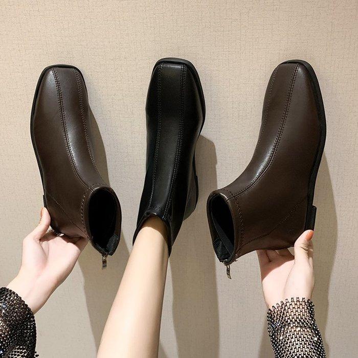 冬季保暖女靴 馬丁鞋 長靴機車靴 韓版百搭ins百搭方頭短靴女秋冬平跟馬丁靴女英倫風瘦瘦靴子