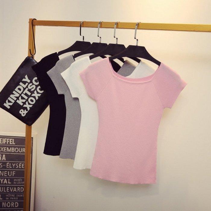 一字領上衣正韓版夏季新款韓版純色修身顯瘦一字領針織短袖T恤女冰絲打底衫上衣薄8-28