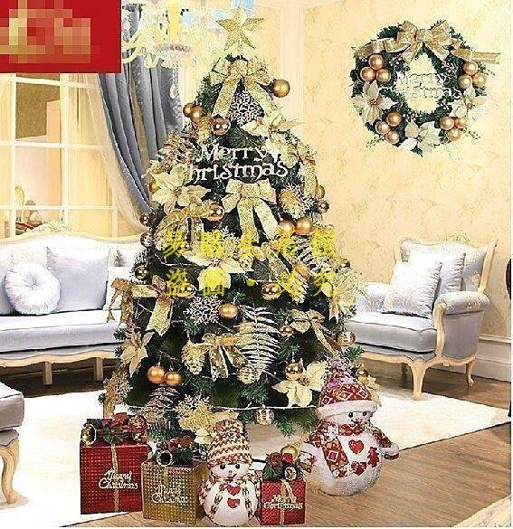 [王哥廠家直销]耶誕節套餐 1.5米耶誕節日裝飾品 金色加密發光耶誕節禮物LeGou_177_177