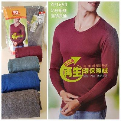 【晉新】YG男性_冬季環保保暖衣_貨號YP1650彩紋暖絨圓領長袖衫_尺寸M、L、XL_原價320元
