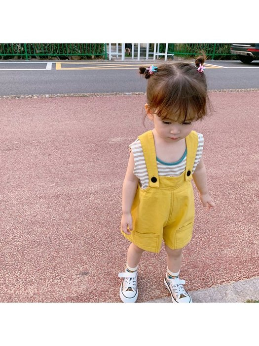 女童夏裝 新款洋氣寶寶背帶褲兒童休閑吊帶褲童裝寬松闊腿短褲