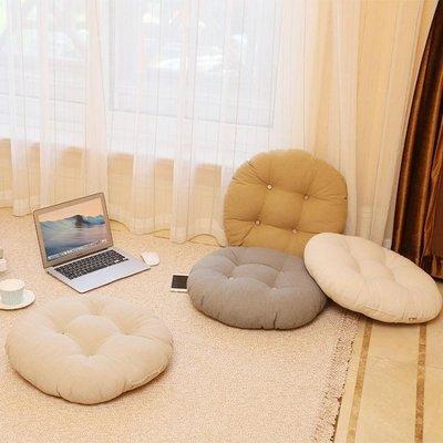 棉麻加厚純色坐墊椅墊飄窗圓墊子地板蒲團日式打坐靠墊功夫茶坐墊