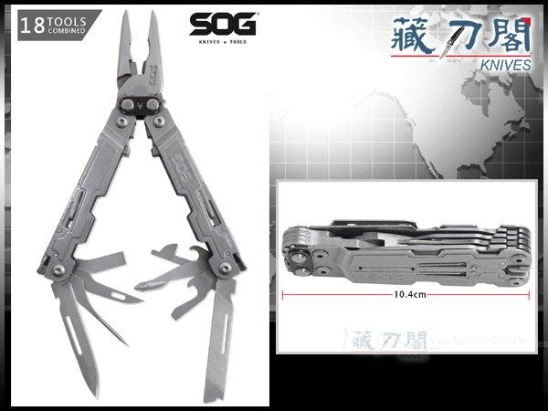 《藏刀閣》SOG-(POWERACCESS)-複合槓桿18用多功能工具鉗(石洗不鏽鋼)