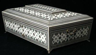 【家與收藏】特價極品珍藏歐洲古董英國1845年Inlaid手工母貝純銀檀木鑲嵌皇家公主針線盒/化妝盒