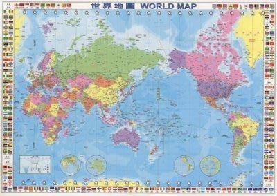 海報專賣店- 海報: CH001(世界地圖-繁體中文版 中英文對照)+木框(含海報防水式處理)