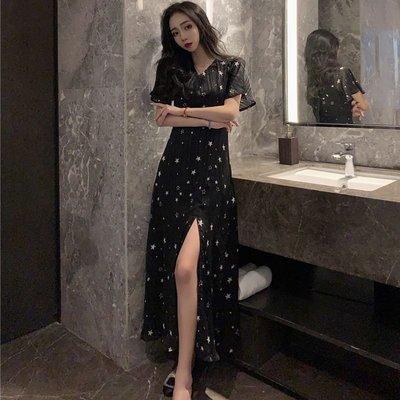 時尚女裙  夏季新款復古v領短袖裙子星星印花修身高腰長裙開叉設計連衣裙女