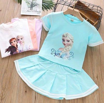 QQ羊*G528 套裝 時尚公主圓領短袖上衣+短裙兩件式套組 韓版女童套裝,建議80-130cm