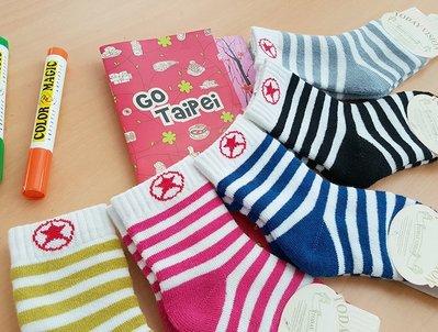 襪子【FSC012】可愛點星條童襪  嬰兒 中筒襪 螢光色 氣墊襪 純棉 毛巾襪 收納女王