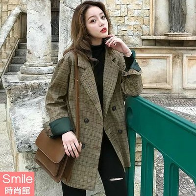 【V2997】SMILE-英倫復古.格紋雙排釦長袖西裝外套