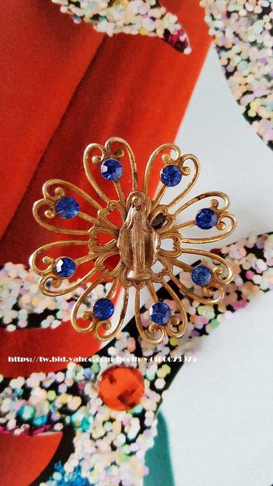 黑爾典藏西洋古董~美國 聖母瑪莉亞 藍晶鑽 胸針/別針 ~ Vintage復古宗教系列