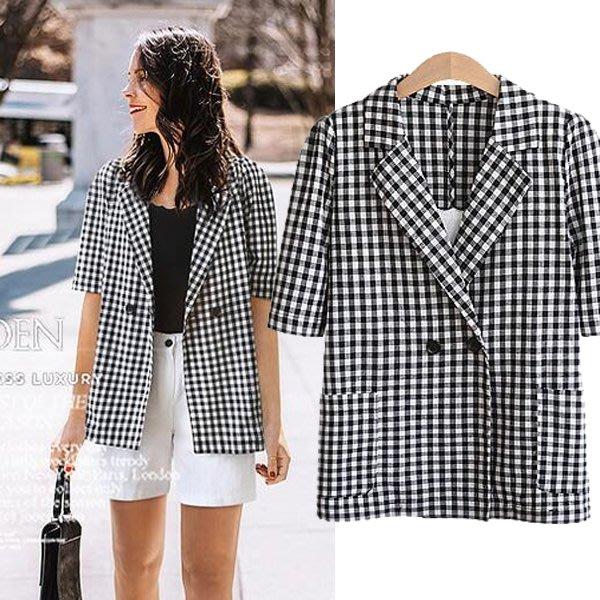 ☆中大碼 [吉米花] B-074153 黑白格中袖開衫外套 ( 4XL ) 現貨