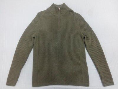 Bossini 專櫃品牌 軍綠100%羊毛衣 尺寸:XL 香港製造