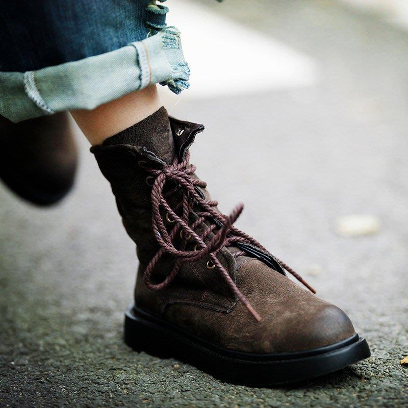 【鈷藍家】最愛馬丁靴 酷酷的搭配牛仔褲 頭層磨砂牛皮馬丁靴 繫帶真皮沙漠靴 機車靴 性格酷帥做舊真皮騎士靴 耐看耐穿耐操