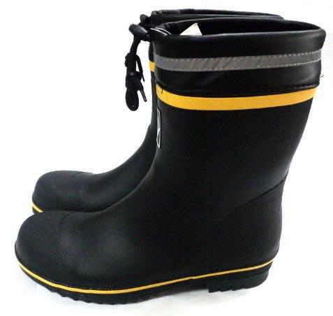 美迪~ER832中筒多功能橡膠雨鞋~(有鋼頭-鞋底鋼片)-可當工作雨鞋/登山雨鞋~黑黃