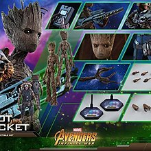 全新圓貼未開 Hottoys (MMS476) Avengers Infinity War  Groot 樹人& Rocket 火箭 (歡迎提問)