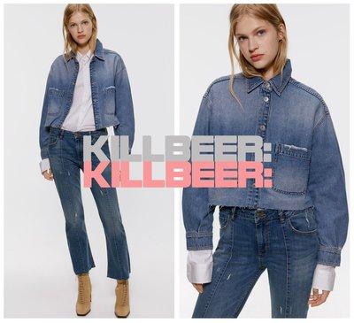 KillBeer:經典就是不會被換之 歐美復古搖滾簡約設計感口袋做舊淺色暈染水洗丹寧牛仔外套夾克A042205