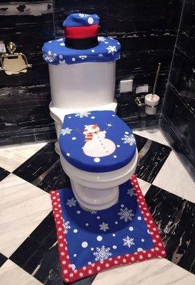 【NF281】聖誕馬桶套藍色雪人款加腳墊加水箱蓋+紙巾套 聖誕馬桶套 耶誕馬桶套