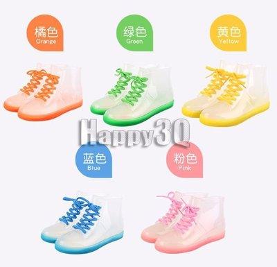 韓版果凍透明繽紛色彩防滑橡膠平底短筒雨靴-橘/紅/黃/綠/藍35-39【AAA0119】預購