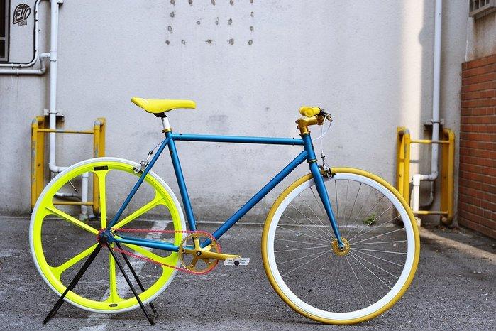 樂多單車社 RUBEN ELEMENT 單速車 Fixed Gear 客製化 自由配色 霧藍車架+六刀輪
