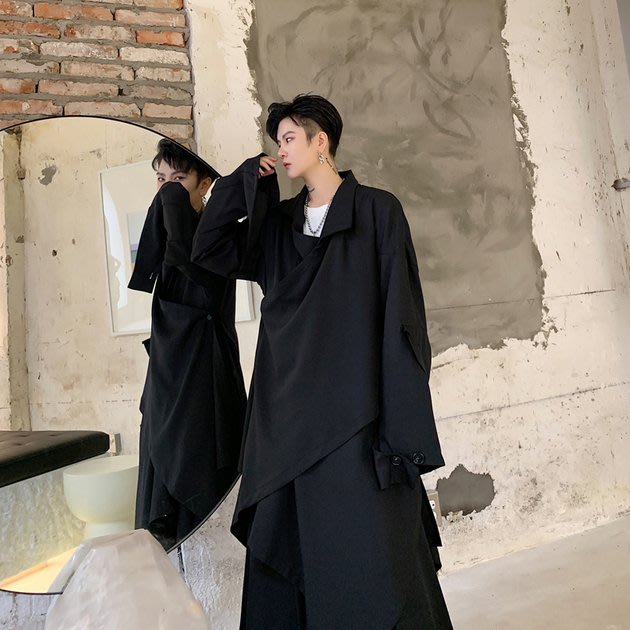 FINDSENSE 2019 秋冬上新 G19  黑色潮流不規則拼接層疊長大衣中長款風衣男裝百搭寬鬆休閒外套