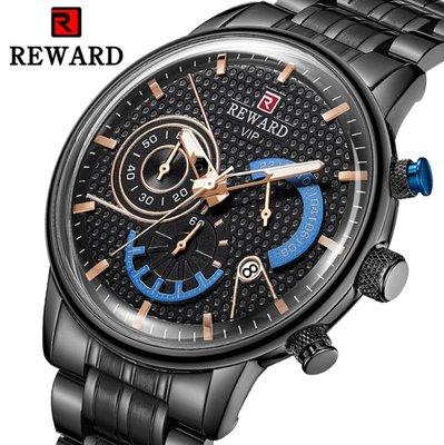【潮裡潮氣】REWARD運動石英手錶男潮流計時手錶六針日曆休閒鋼帶表RD81002M