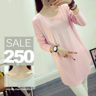 超哥小舖【L6022】慵懶隨性風圓領純色素面寬鬆長袖棉T上衣