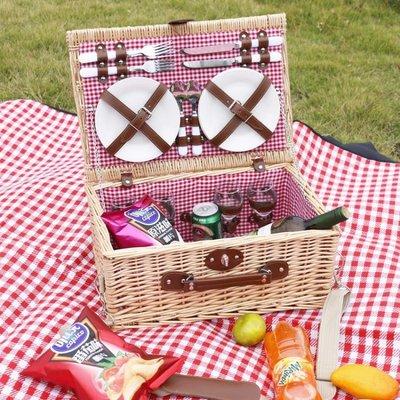 【蘑菇小隊】野餐籃藤編柳編籃子保溫帶蓋野營收納籃餐具-MG74715