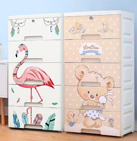 大容量加厚加寬特大號塑料收納箱 收納盒抽屜式收納櫃子兒童衣服整理箱有蓋儲物櫃 收納柜—莎芭
