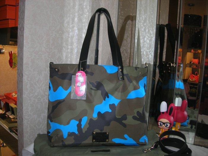 典精品 Valentino 全新 尼龍 防水 迷彩 藍 雙面用 購物包 肩背包 斜背包 兩用包 ~ 附背帶 現貨