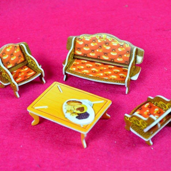 佳廷家庭 親子DIY紙模型3D立體拼圖贈品獎勵品專賣店 甜蜜居家佈置 袋裝居家1客廳 Calebou卡樂保