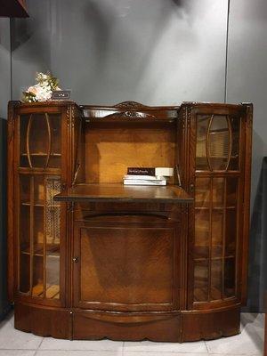 【卡卡頌 歐洲跳蚤市場/歐洲古董】1960  英國老件 別緻 橡木 玻璃展示櫃 寫字桌 收納櫃 寫字櫃ca0229✬