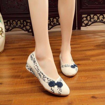 復古中式盤扣繡花鞋老北京布鞋尖頭氣質單鞋休閒鞋低坡跟女鞋