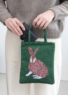 日本 m.m 繪本家 - 松尾美雪 手繪 刺繡 動物 平織手提包 手提袋 松鼠 兔子 立體感二面一樣圖案