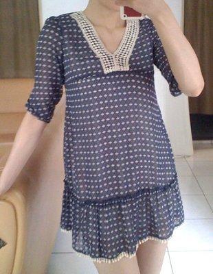 [ 清衣櫃 特價 ] 藍色雪紡 V領洋裝   asos zara ae sly moussy topshop ffff