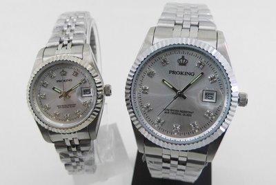 【 幸福媽咪 】網路購物、門市服務 PROKING 皇冠 日本機芯 日期指針石英錶 男女對錶4001M 銀面
