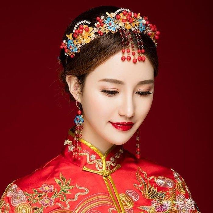 新娘古裝頭飾額飾皇冠結婚復古婚禮配飾秀禾服敬酒服新款發飾