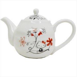 4165本通 日本製 凱蒂貓 陶瓷茶壺 (亞洲風/紅花) 4964412304247 下標前請詢問
