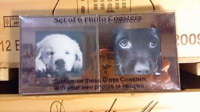 狗狗 相片框杯墊 (金色)  : 可愛 相框 相片 隔熱墊 杯墊 裝飾 居家 廚房 生活 裝飾  狗 寵物