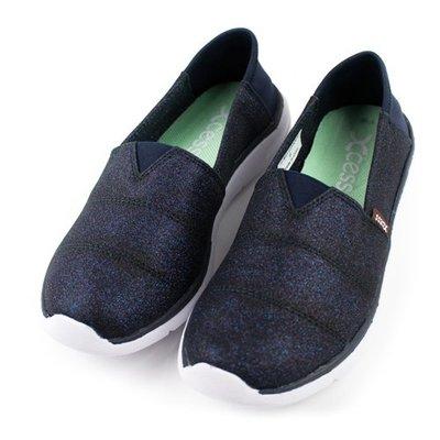 =CodE= XCESS CLASSIC 帆布休閒鞋(星空銀粉藍) GW049-NVY TOMS 娃娃鞋 樂福鞋 女