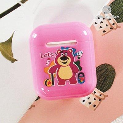 正版授權 Disney 迪士尼 AirPods / AirPods2 硬式保護套 - 熊抱哥 繽紛彩虹 草莓熊