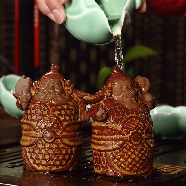 5Cgo【茗道】含稅會員有優惠 44268140806 精品陶瓷陶土茶寵擺件茶具盤擺件神話人物哼哈二將門神辟邪神一對