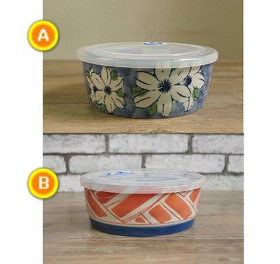 日式便當盒保鮮盒  手繪陶瓷保鮮碗帶蓋微波爐飯盒 保鮮盒圓形 密封盒泡麵碗(1個)_☆找好物FINDGOODS☆