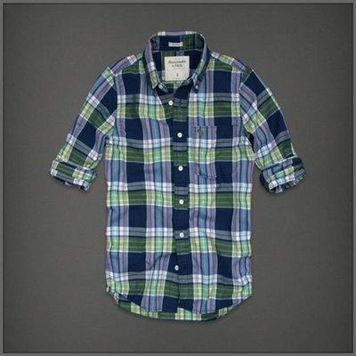 美國AMPM【現貨S126】AF / A&F 男版 Bushnell Falls 長袖薄綠色格紋襯衫 L號
