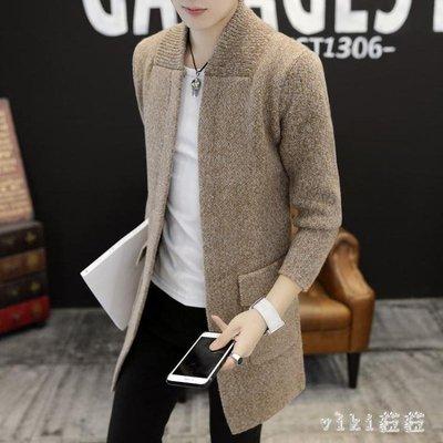 中大尺碼風衣男 冬季中長款風衣男裝保暖針織衫開衫毛衣外套 nm16068